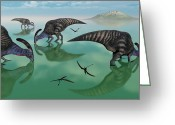 Dinosaurs Greeting Cards - Parasaurolophus Dinosaurs Graze An Greeting Card by Mark Stevenson