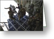 Regiment Greeting Cards - Paratroopers Jump From A C-130 Hercules Greeting Card by Andrew Chittock