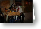 Los Angeles Pyrography Greeting Cards - Pareja de Muertos Greeting Card by Eloy Botello