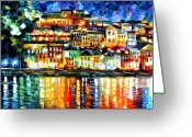 Afremov Greeting Cards - Parga Greece Greeting Card by Leonid Afremov