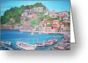 Teresa Dominici Greeting Cards - Parga in Greece Greeting Card by Teresa Dominici