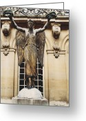 Surreal Gothic Angel Photography Greeting Cards - Paris - Courtyard Musee Carnavalet Angel Statue  Greeting Card by Kathy Fornal
