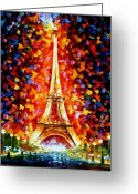 Afremov Greeting Cards - Paris - Eiffel Tower Lighted Greeting Card by Leonid Afremov