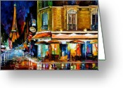 Original Art Greeting Cards - Paris - Recruitement Cafe Greeting Card by Leonid Afremov