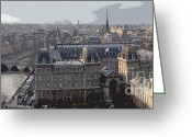 Digital-panorama Greeting Cards - Paris 01 Greeting Card by Yuriy  Shevchuk