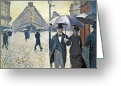 Cobblestones Greeting Cards - Paris a Rainy Day Greeting Card by Gustave Caillebotte