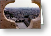 Glenn Mccurdy Greeting Cards - Paris and The Seine 1963 Greeting Card by Glenn McCurdy