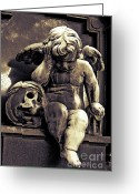 Cherubs Greeting Cards - Paris Angel-Pere La Chaise - Cherub and Skull Greeting Card by Kathy Fornal