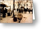 Park Benches Greeting Cards - Paris Artist District - Montmartre  Greeting Card by Kathy Fornal