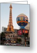 Lit Greeting Cards - Paris at Dusk Greeting Card by Andy Smy