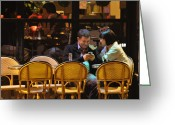 Wicker Chairs Greeting Cards - Paris at Night in the Cafe Greeting Card by Mary Machare