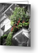 Centre Greeting Cards - Paris balcony Greeting Card by Elena Elisseeva