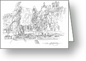 City Scene Drawings Greeting Cards - Paris Bank of the Seine Greeting Card by Marilyn MacGregor