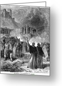 Heretic Greeting Cards - Paris: Burning Of Heretics Greeting Card by Granger