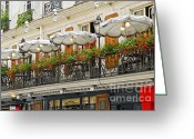 Umbrella Photo Greeting Cards - Paris cafe Greeting Card by Elena Elisseeva
