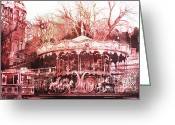 Pink Framed Prints Greeting Cards - Paris Carousel Montmartre District Red Carousel Greeting Card by Kathy Fornal