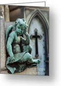 Cherubs Greeting Cards - Paris Cemetery - Pere La Chaise - Cherub and Cross Greeting Card by Kathy Fornal