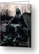 Mourner Greeting Cards - Paris Cemetery - Pere La Chaise - Female Mourner  Greeting Card by Kathy Fornal