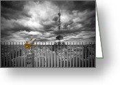 Black White Greeting Cards - PARIS Composing Greeting Card by Melanie Viola