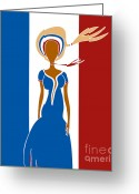 French Art Drawings Greeting Cards - Paris Fashion Greeting Card by Frank Tschakert