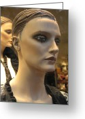 High Fashion Greeting Cards - Paris Female Faces Beautiful Mannequin Art Greeting Card by Kathy Fornal