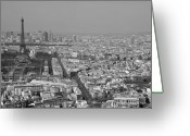 Monochrome Mixed Media Greeting Cards - Paris from Above Greeting Card by Louise Fahy