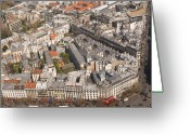 Monochrome Mixed Media Greeting Cards - Paris from Above II Montparnasse Greeting Card by Louise Fahy
