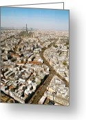 Monochrome Mixed Media Greeting Cards - Paris from Above IV Greeting Card by Louise Fahy