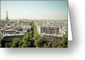 Horizon Over Land Greeting Cards - Paris From Arc De Trompe Greeting Card by Oscar Bjarnason