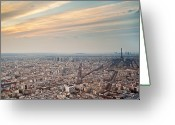 Ile De France Greeting Cards - Paris From Tour Montparnasse Greeting Card by Romain Villa Photographe