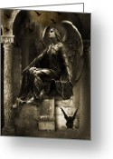Surreal Gothic Angel Photography Greeting Cards - Paris Gothic Angel Gargoyle and Ravens Greeting Card by Kathy Fornal