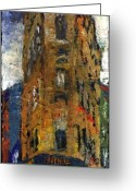 Oil Canvas Greeting Cards - Paris Hotel 7 Avenue Greeting Card by Yuriy  Shevchuk
