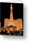 Lit Greeting Cards - Paris Hotel Greeting Card by Andy Smy