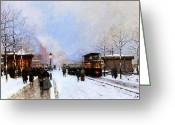 Luigi Greeting Cards - Paris in Winter Greeting Card by Luigi Loir