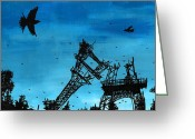 Devastation Greeting Cards - Paris is Falling Down Greeting Card by Jera Sky