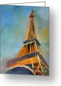 Eiffel Tower Greeting Cards - Paris Greeting Card by Jutta Maria Pusl