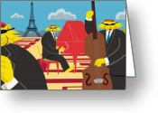 Bass Digital Art Greeting Cards - Paris Kats - The CoolKats Greeting Card by Darryl Glenn Daniels