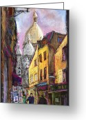 Paris Pastels Greeting Cards - Paris Montmartre 2 Greeting Card by Yuriy  Shevchuk