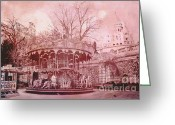 Pink Framed Prints Greeting Cards - Paris Montmartre Pink Carousel at Sacre Coeur  Greeting Card by Kathy Fornal