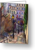 Europe Greeting Cards - Paris Montmartre Greeting Card by Yuriy  Shevchuk