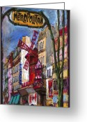 Street Greeting Cards - Paris Mulen Rouge Greeting Card by Yuriy  Shevchuk