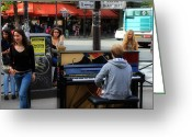 Street Musicians Greeting Cards - Paris Musicians 2 Greeting Card by Andrew Fare