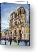 Old Greeting Cards - Paris Notre-Dame de Paris Greeting Card by Yuriy  Shevchuk