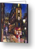 France Greeting Cards - Paris Old street Greeting Card by Yuriy  Shevchuk