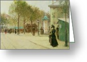 Daily Life Greeting Cards - Paris Greeting Card by Paul Cornoyer