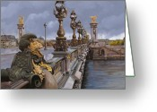 Guido Tapestries Textiles Greeting Cards - Paris-pont Alexandre III Greeting Card by Guido Borelli