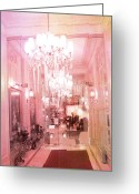 Photographs With Red. Greeting Cards - Paris Posh Pink Surreal Hotel Interior Greeting Card by Kathy Fornal