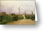 Europe Painting Greeting Cards - Paris seen from the heights of Montmartre Greeting Card by Jean dAlheim