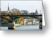 Architecture Tapestries Textiles Greeting Cards - Paris Seine Greeting Card by Elena Elisseeva