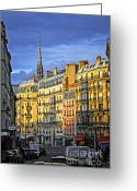 Old Cities Greeting Cards - Paris street at sunset Greeting Card by Elena Elisseeva